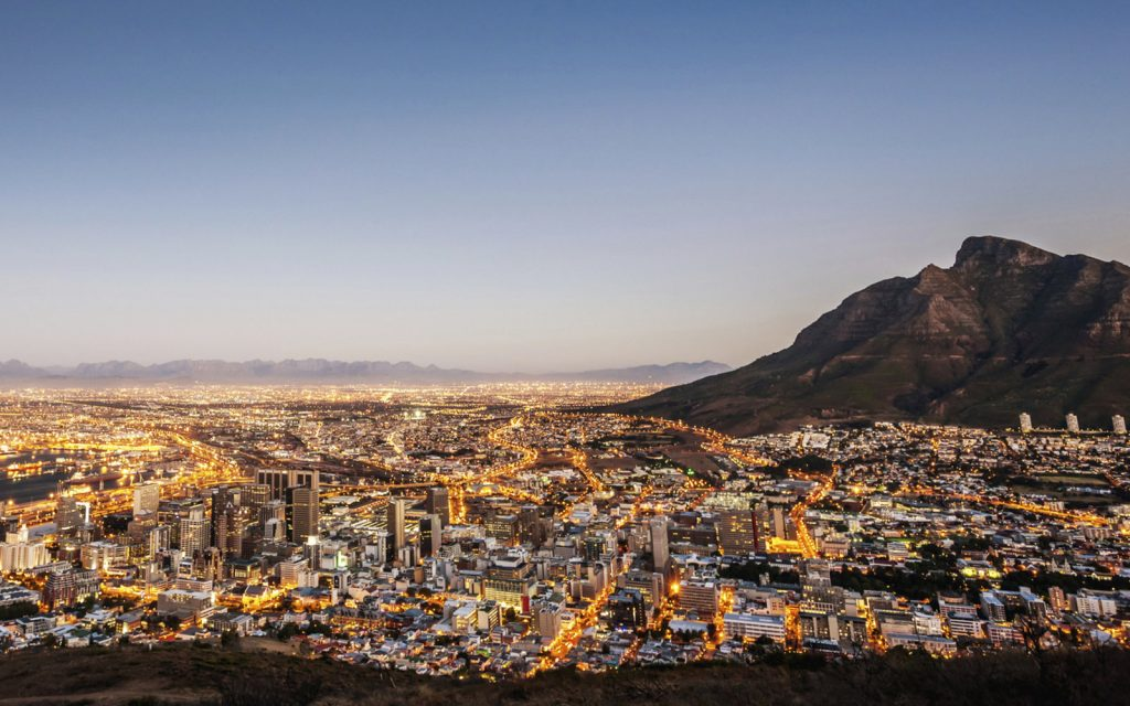 Cape Town South Africa Illuminated Night Scene