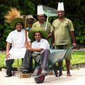 Chefs and gardening team working together