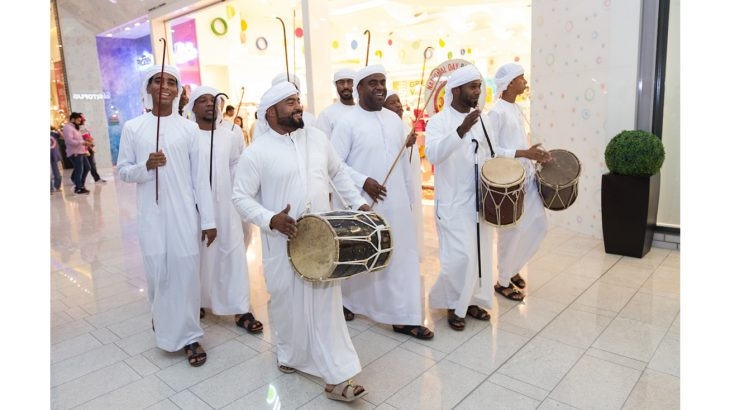 Traditional Emirati dance troupe performs in malls