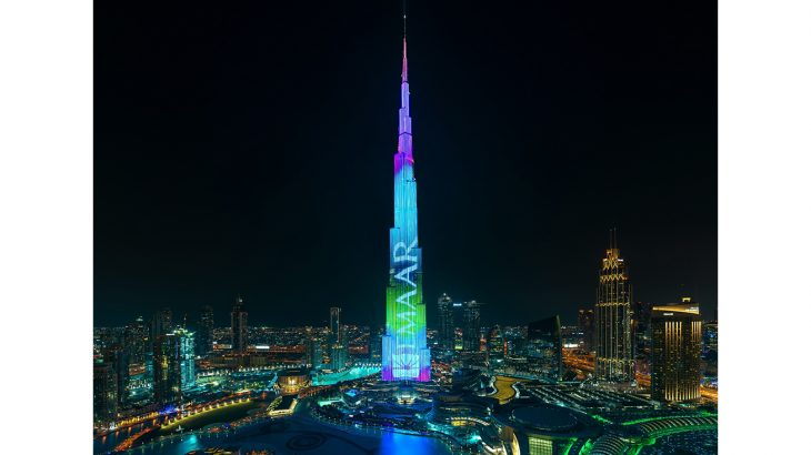 Epic journey of lights on Burj Khalifas LED façade