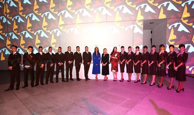 Etihad Airways Cabin Crew with actress Liv Tyler, Etihad VP Guest Experi...