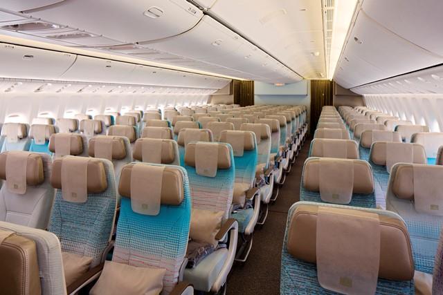Economy Class cabin on Boeing 777-300ER