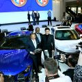 Genesis executives receive the North American Car of the Year Award (From left, Manfred Fitzgerald, Erwin Raphael, SangYup Lee)