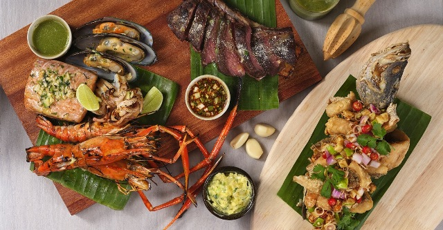 Seafood Platter and Deep fried seabass with thai herbs