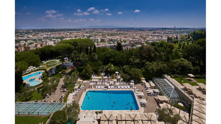 Rome Cavalieri daytime view over Rome from hotel terrace