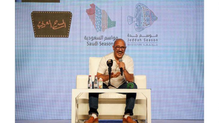 الفنان أشرف عبد الباقي خلال اللقاء الصحفي