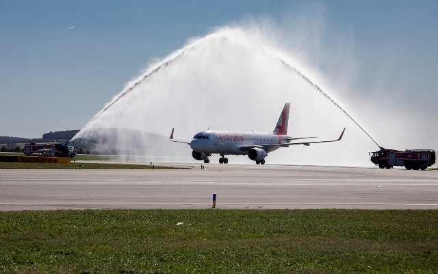 Air Arabia aircraft was welcomed with a water-salute at Vienna Airport